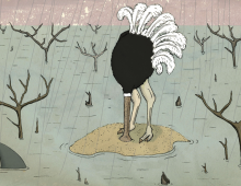 O is for Ostrich with its head in the sand