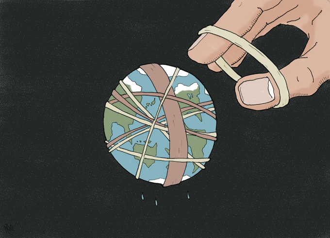 earth as rubberband ball
